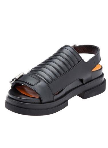 %100 Deri Sandalet-Harley Davidson